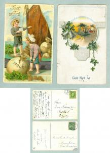 Sweden. 2 Old New Year Card.Postal Used. See Description