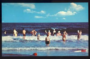 Misquamicut, Rhode Island/RI Postcard, Surf Bathers, Crashing Waves