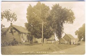 Macwahoc ME Main Street Old Truck 1924 RPPC Real Photo Postcard
