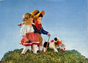 Children walking with a dog Children Unused