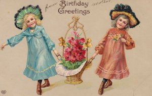 BIRTHDAY Greetings, 1900-1910's; Girls Carrying A Basket Full Of Flowers, E.A.S.