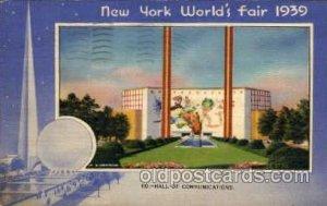 Hall of Communications New York Worlds Fair 1939 Exhibition 1939 postal marki...