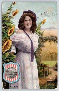 Kansas Girl~Lovely Lady in Flowers~Sunflower~Shield Seal~1908 TUCK State Belles