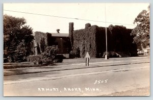 Anoka Minnesota~Ivy Covered National Guard Armory~Before Tornado~c1935 RPPC