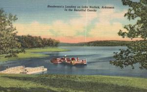 Henderson's Landing on Lake Norfork, AR, Ozarks, 1948 Linen Postcard f9734