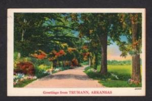 AR Greetings from TRUMANN ARKANSAS Postcard Linen PC