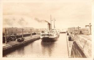 Panama Canal ship in Gatun Locks Atlantic entrance real photo pc Y15555
