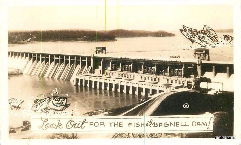 1930s Missouri Fishing Exaggeration Bagnell Dam RPPC real photo postcard 824