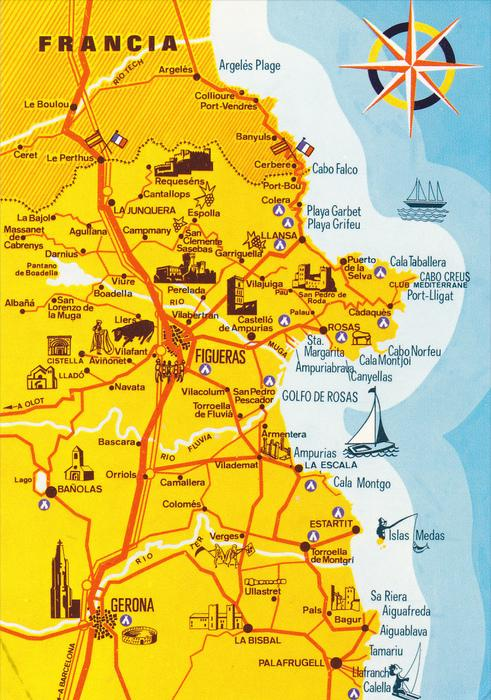 Map Of Spain Coast.Animated Map Northeast Coast Spain 50 70 S Hippostcard