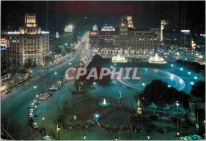 Postcard Modern Catalonia Barcelona Plaza Night