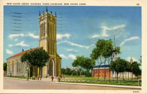CT - New Haven - The Green, Showing Three Churches