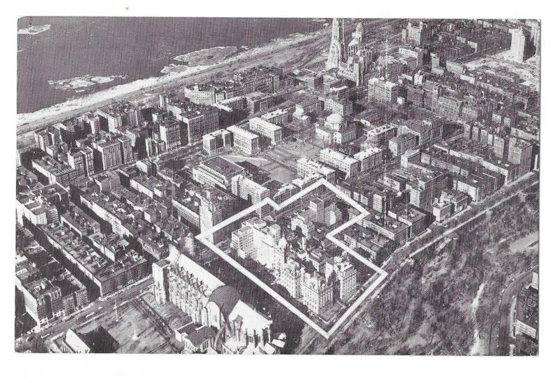 New York City Morningside Heights Aeriel View Vintage Lumitone NY Postcard