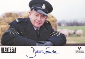 Derek Fowlds Heartbeat Hand Signed Cast Card Photo