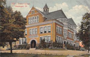 Waukegan Illinois~Central School~Low Rail Fence~1910 Postcard