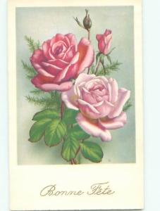 Very Old Foreign Postcard BEAUTIFUL FLOWERS SCENE AA4986