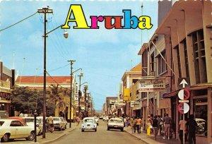 Aruba Netherland Antilles 1970s Postcard Main Street Nassaustreet Cars Stores