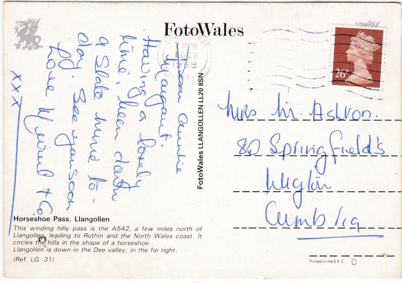 Postcard Wales Denbighshire Horseshoe Pass