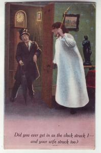 P1131 unused comic postcard did you ever get in as the clock struck 1 etc