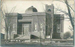 1910s WOODWARD, Iowa RPPC Postcard NEW M.E. CHURCH Building View GASTLER Photo