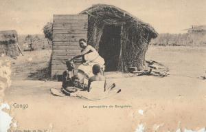 Congo Sungololo native hairdresser & hut postcard ( damage )