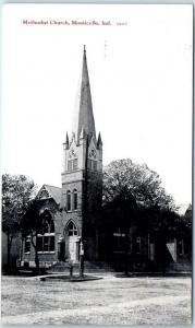 Monticello, Indiana Postcard Methodist Church Building / Street View Unused
