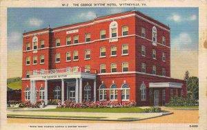 George Wythe Hotel Wytheville Virginia 1944 linen postcard