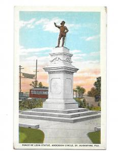 Statue of Ponce de  Leon Anderson Circle & Trolley St Augustine Florida