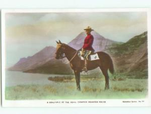 old rppc RCMP MOUNTIE MOUNTED POLICE Waterton Park - Near Lethbridge AB W0812
