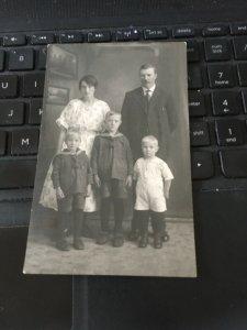 Antique Photo Postcard RPPC- Family Parents, 3 Sons, Boys in Sailor Suits