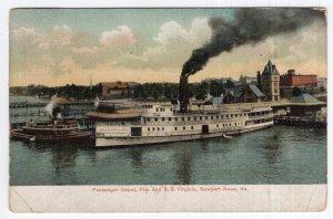 Newport News, Va., Passenger Depot, Pier and S. S. Virginia