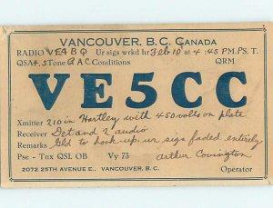 1930s QSL RADIO CARD Vancouver British Columbia BC AH3160