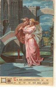 Romantic couple. Bianca Capello e Bonaventura Old vintage Italian Postcard