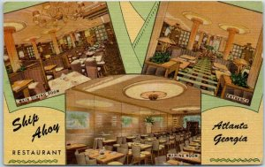Atlanta, Georgia Postcard SHIP AHOY RESTAURANT Luckie Street Roadside Linen 1953