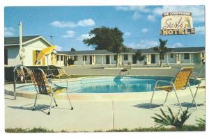 Lakeland FL Siesta Motel Pool 1950's Vintage Postcard