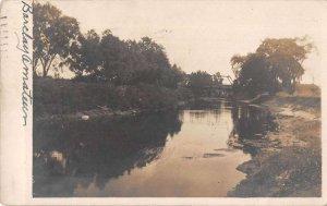 Utica New York River and Bridge Real Photo Vintage Postcard AA19397