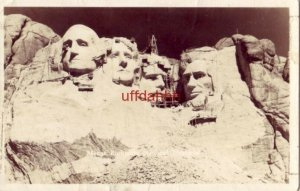 MOUNT RUSHMORE NATIONAL MONUMENT near completion. scaffolding in place RPPC 1941