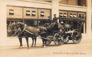 Springfield MA Horses & Wagon Hose Number Three Firemen RPPC