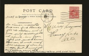 Postmarked 1944 Vernon BC Chateau Lake Louise Banff NP Linen Postcard