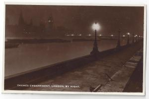 RPPC UK London Thames Embankment by Night 1937 Real Photo