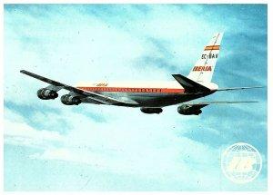 Iberia Airlines~Douglas DC-8 Turbofan~Airplane~Vintage Postcard