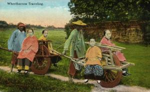 china, Native Chinese Wheelbarrow Traveling (1910s) Postcard