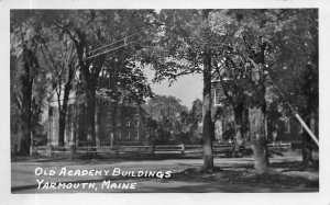 Yarmouth ME Old Academy Buildings Real Photo Postcard