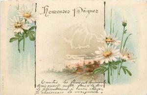 Paques Easter fantasy chromo 1900s postcard flowers landscape