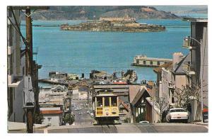 CA San Francisco Cable Car Alcatraz Hyde St Hill California Vintage Postcard