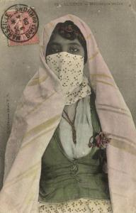 algeria, ALGER, Moorish Mauresque Girl with Veil, Niqab, Islam (1906) Stamp