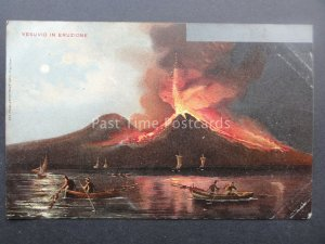 NAPLES Mount Vesuvius Volcano Eruption c1903 UB Postcard by Richter & Co