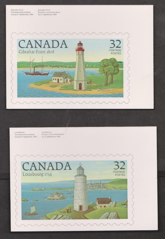 Lighthouse Stamps On Postcards - Canada Set Of 2 - Unused