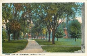 Poughkeepsie~We Marched Down Elm Walk~Vassar College From Chapel~1920 Postcard