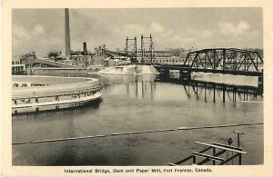 International Bridge, Dam and Paper Mill at Fort Frances Ontario Canada