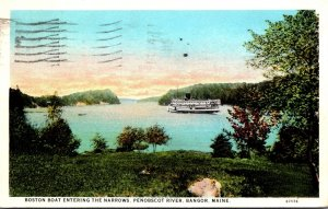 Maine Bangor Penobscot River Boston Boat Entering The Narrows 1930 Curteich